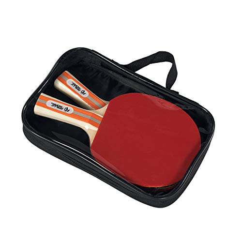 Rally and Roar Table Tennis Paddles, Set of 2, Black and Red, Wooden Table Tennis Paddles with 5-Ply Blade, Inverted Rubbers for 2 Player Games - Premium Indoor Play Equipment, TBD (TT800Y19017)