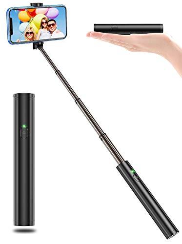 Bcway Selfie Stick Bluetooth, Lightweight Aluminum Phone Selfie Sticks, Extendable Monopod Compact Design, Compatible with iPhone 11 Pro Max/11 Pro/11, Galaxy S20 More