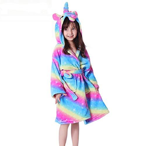 LEYUANA Albornoz de Dibujos Animados para niños, Pijama Suave de Franela para niña, Ropa de Moda con Capucha para niños de Coral 4T Rainbowstarrysky1
