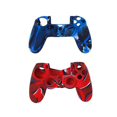 SODIAL(R) 2pcs Etuis de Protection en Silicone + 2 Paires Bouchons Capuchons de Joystick en Plastique pour Manette PS4 - Bleu marine + Rouge