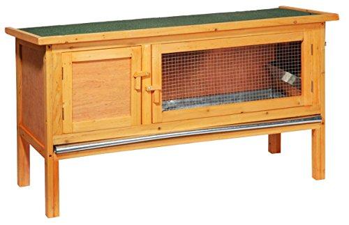 dobar 23306FSC Klassischer Kleintierstall aus imprägniertem Nadelholz, mit Zinkwanne, Ruheraum und Dach mit Aufstellvorrichtung, 115 x 45 x 66 cm