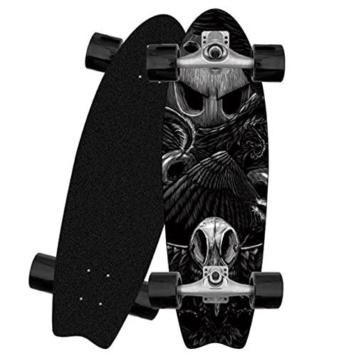 XKAI Carver Surfskates Adultos Principiantes Pumping Skateboard 81x25CM Completa Cruiser Deck Fancy Board Maple Wood Carving Kids Teen Monopatín Longboard, ABEC-9 Rodamientos, CX4 Truck