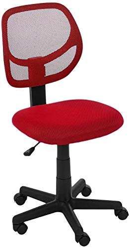 AmazonBasics Low-Back, Upholstered Mesh, Adjustable, Swivel Computer Office Desk Chair, Red