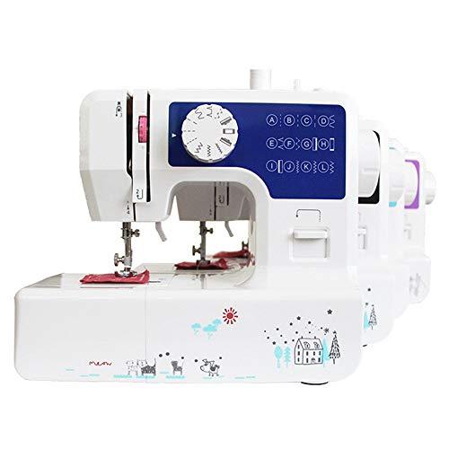 Máquina de coser del hogar Máquina de coser eléctrica de doble rosca doble velocidad, 12 clases de puntada Selección Mini máquina de coser Máquinas de coser ( Color : Azul , Size : 321X130X271mm )