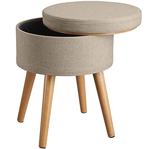 TecTake 800836 Sitzhocker mit Stauraum in Leinenoptik, bis 300 kg belastbar, rund, Deckel abnehmbar, gepolsterter Hocker, Beine aus Buche mit Filzgleitern (Sand)