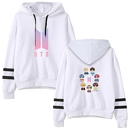 O·Lankeji BTS Sudaderas con capucha mujeres y hombres Sudadera con capucha unisex para Chicas Chicos adolescentes,Sudadera gran tamaño para los fans de Korean Idol BTS (Color : White B, Tamaño : L)