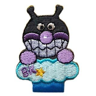名札付け アンパンマン ばいきんまん ドキンちゃん ワッペン 刺繍 アイロン接着 キャラクター アップリケ アイロンワッペン かわいい 正規品 (ばいきんまん)