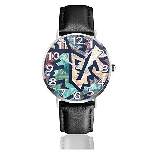 Reloj de Pulsera Antiguo geométrico Durable PU Correa de Cuero Relojes de Negocios de Cuarzo Reloj de Pulsera Informal Unisex