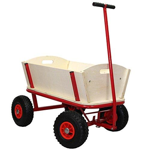 Helo Bollerwagen Handwagen 150 kg Tragkraft mit Luftreifen (ohne Dach), Stahlrohrkonstruktion mit verstärkter Ablagefläche - (L/B/H): 94 x 62 x 50 cm - Gestell: Rot/Plane: Ohne