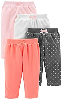 Simple Joys by Carter's Girls' 4-Pack Fleece Pants, Pink/Navy Dot/Ivory, 12 Months