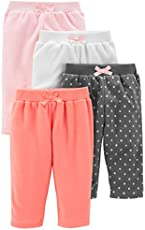 Simple Joys by Carter's Baby 4-Pack Fleece Pants, Pink/Navy Dot/Ivory, 12 Months