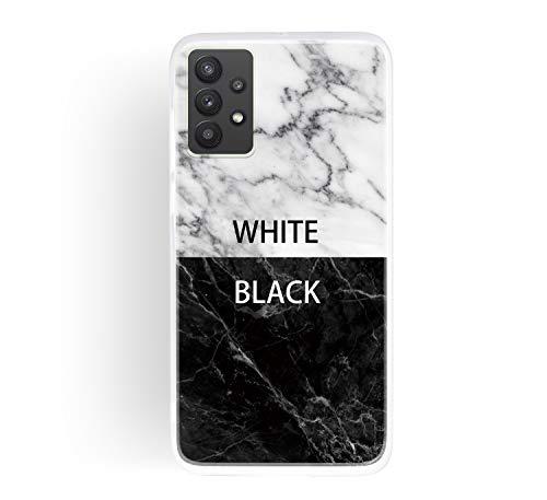 ChoosEU Compatible con Funda Samsung Galaxy A32 5G Silicona Dibujos Mármol Creativa Carcasas para Chicas Mujer Hombres, TPU Case Antigolpes Bumper Cover Caso Protección - Blanco Negro