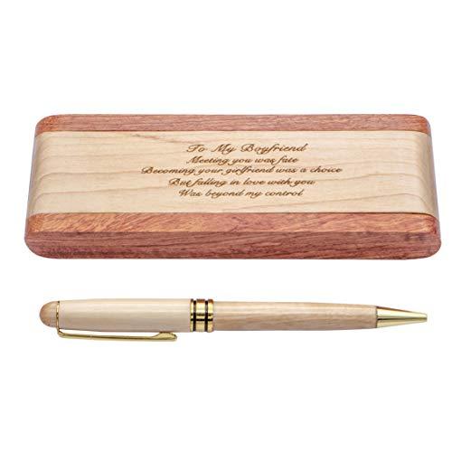 Estuche de madera grabada, bolígrafo clásico con estuche 100% hecho a mano, ideas de regalo de cumpleaños de Navidad para hijo hija de papá (StyleF04-para novio)