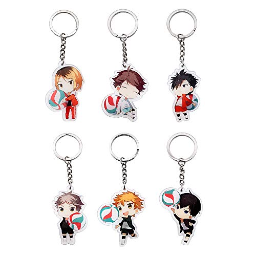 Haikyuu Keychains, 6 Pack Cute Anime Key Chains for Kids, Girls, Boys, Birthday Gifts