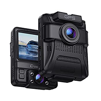 Dual Dash Cam GPS with IR Night Vision Crosstour 1080P Front and 720P Inside Cabin Car Dash Camera 2.4 inch LCD Screen 310°Wide Angle Dual Lens Car Driving Recorder for Cars Truck Taxi