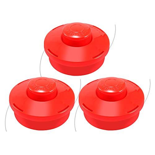 Viabrico 3 x Universal-Kopf für Motorsense, Nylonfaden (3 x Rot)