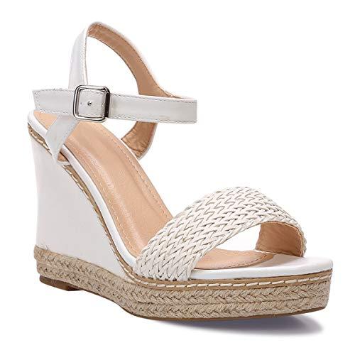 La Modeuse - Sandalias de piel sintética, Blanco (blanco), 37 EU