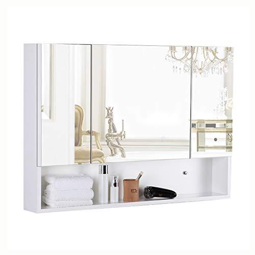 Spiegelkasten badkamer muur hangende houten spiegelkast thuis multifunctioneel rek Drie deuren sluitvakken kasten