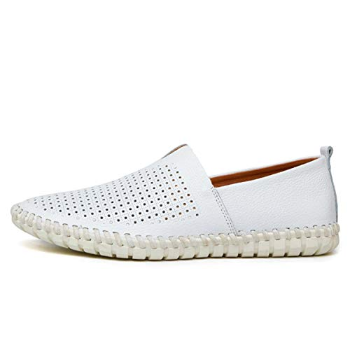 Big Size 39-50 Leather Mens Shoes Summer Breathe Men Luxury Driving Shoes Slip on Casual Male Loafers New 955-1CKWhite 13