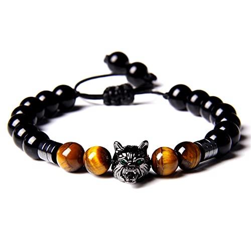 Handmade Black Rope Adjustable Bracelets Men Polished 8 mm Yellow Tiger Eye Stone Beads Bracelet Wolf Charm Bangle Women Jewelry