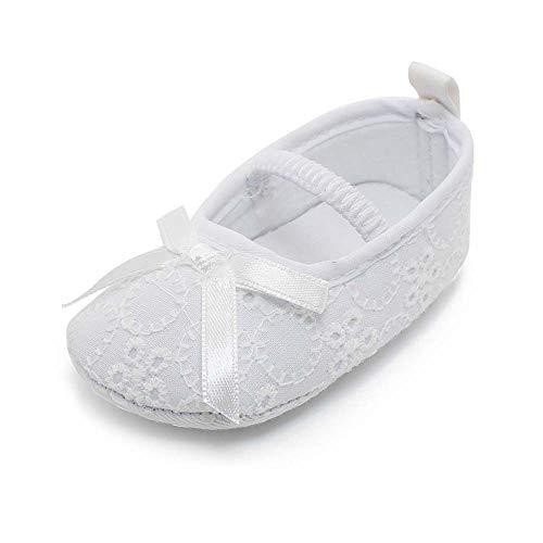 OOSAKU Baby Mädchen Kleinkind Säuglings Spitze Floral Bowknot Weiß Taufe Schuhe rutschfeste Mary Jane Dance Ballerina Hausschuhe, Schuhe, 3-6 Monate