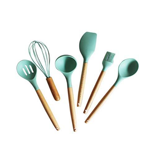 ZPSPZ küchenhelfer Silikatkleber, Nicht haftbarer Topf, Holzgriff, hitzebeständiger Löffel, Löffel, Löffel, Haushaltsküchenwaren, Kochutensilien und Küchenwerkzeuge