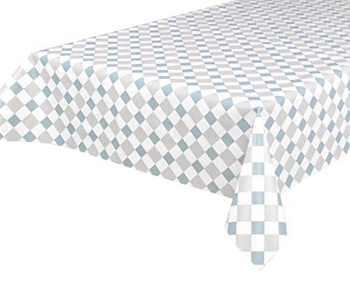 BEAUTEX Wasdoek tafelkleed wasdoek tafelkleed afwasbaar hoekig rond ovaal, motief en grootte naar keuze (Motief: tegels blauw, rechthoekig 140x200)