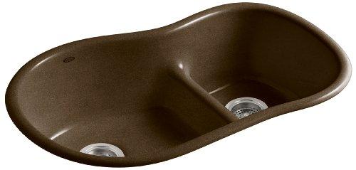 Big Sale Best Cheap Deals KOHLER K-6498-KA Iron/Tones Smart Divide Offset Kitchen Sink, Black 'n Tan