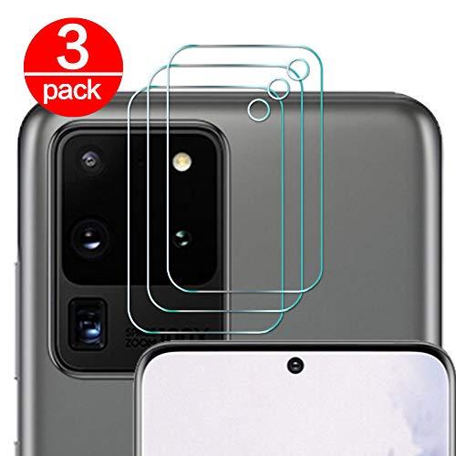 [3 Pack] Cristal Templado para Lente Cámara de Samsung Galaxy S20 Ultra, Ultra Fino Protector 2.5D 9H de Dureza Cámara Trasera Lente Película de Pantalla