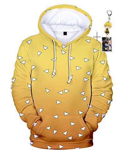 JOOJER Anime Demon Slayer Kimetsu no Yaiba Kamado Tanjirou Hoodies, Unisex Printed Cosplay Sweatshirt Costume Coat (yellow, Large)