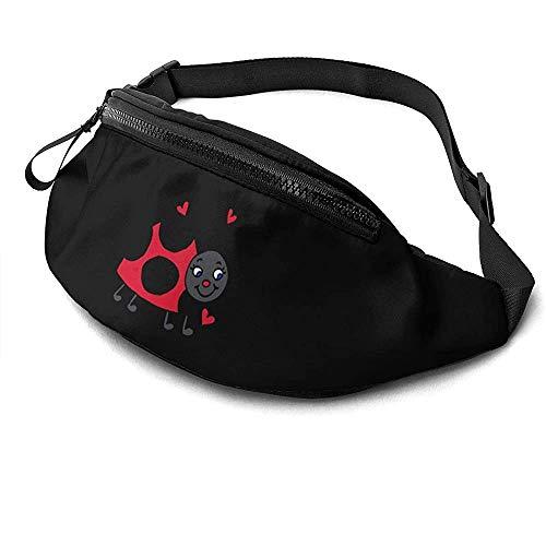Cute Ladybug Runner\'s Riñonera Paquete De Cintura Correas Ajustables Bolsillo con Conector para Auriculares para Unisex