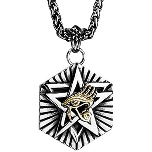 VAWAA Pentagram Hexagon The Eye of Horus Collar para Hombre Collar con Colgante de Acero Inoxidable