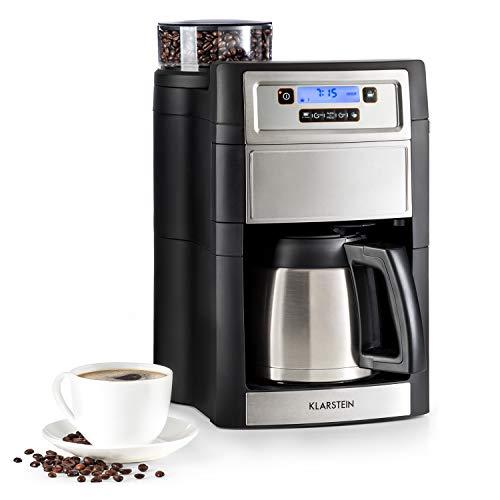 Klarstein Aromatica II Kaffeemaschine mit Mahlwerk - Filter-Kaffeemaschine, 1000 Watt, Timer, inkl. Permanent- und Aktivkohle Filter, 1.25 Liter Thermoskanne, silber