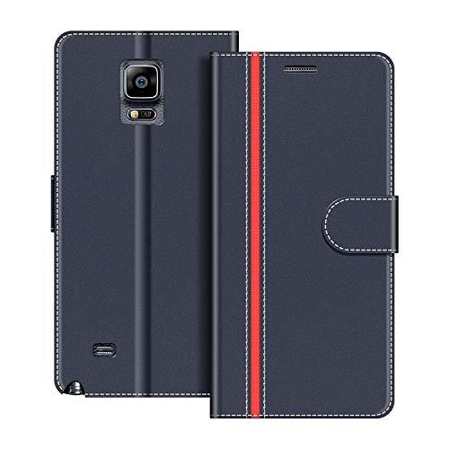 COODIO Handyhülle für Samsung Galaxy Note 4 Handy Hülle, Samsung Galaxy Note 4 Hülle Leder Handytasche für Samsung Galaxy Note 4 Klapphülle Tasche, Dunkel Blau/Rot
