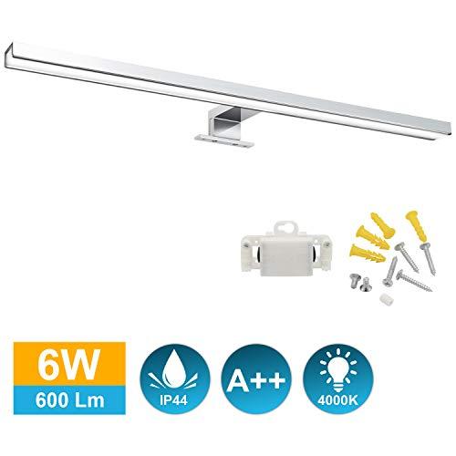 Hengda LED Spiegelleuchte mit Schalter Bad Badleuchte Spiegellampe IP44 Wasserdichte Badlampe Schminklicht für Badezimmer 6W Neutralweiß 30CM