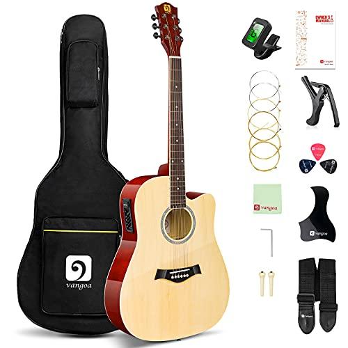 Vangoa Elektro Akustik Gitarre 41 Zoll 4 Band EQ Cutaway Elektroakustische Gitarre mit reichhaltiges Anfänger Zubehör, Natur