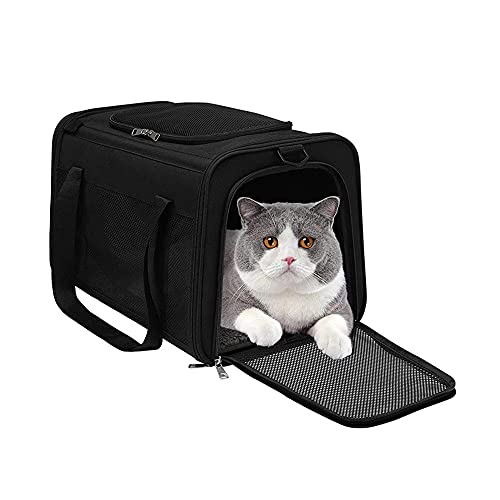 MH-RING Jaula para Gatos Plegable, Bolso de Viaje Portátil para Mascotas, con Apertura Superior Transportín para Gatos Transpirable para Mascotas Pequeñas, Gatos, Perros, Conejos (Color : Black)