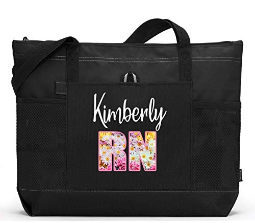 Personalized Nurse RN LPN CNA CMA Tote Bag with Mesh Pockets, Custom Printed