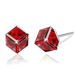 Red Swarovski Crystal Drop Stud Earrings