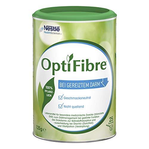 OptiFibre Pulver zum Diätmanagement bei gestörter Funktion des Dickdarms zur Nährstoffresorption und -ausscheidung bei Durchfall und Verstopfung | bei gereiztem Darm | 100% pflanzlich | 1 x 125g Dose