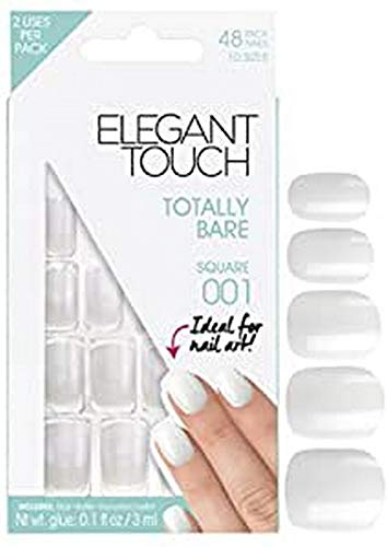 Elegant Touch Totally Bare Nails Square 001 Pack de 48 Ongles en 10 Tailles
