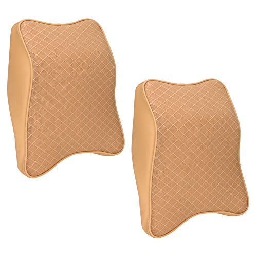 Car Seat Neck Pillows 2 Pcs, Intsun Car Headrest Pillow for Neck Pain Relieve & Cervical Support, Neck Rest Cushion Memory Foam Soft Breathable with Hand Washable Mesh & Leather Cover (L, Beige)