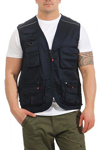 Mivaro Herren Safari-Weste mit vielen praktischen Taschen, funktionale Arbeitsweste, Outdoor-Weste, Größe:L, Farbe:Dunkelblau