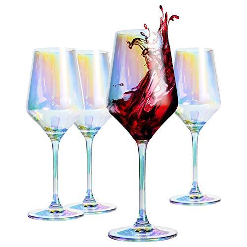 HOMQUEN Rotweinglas 13 Unzen, 390 ml, Bleifrei, Premium-Kristallglas, Perfekt für Partys, Hochzeiten und Geschenke, 4er-Set (Buntes Weinglas)