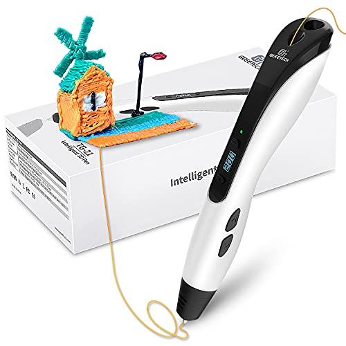 GIANTARM Geeetech 3D Penna Stampa, Penna 3D Professionale con Schermo LCD, 8 velocità e 6 Pulsanti, Temperatura Regolabile velocità, Regalo per Bambini, Adulti, Artista(Bianca)