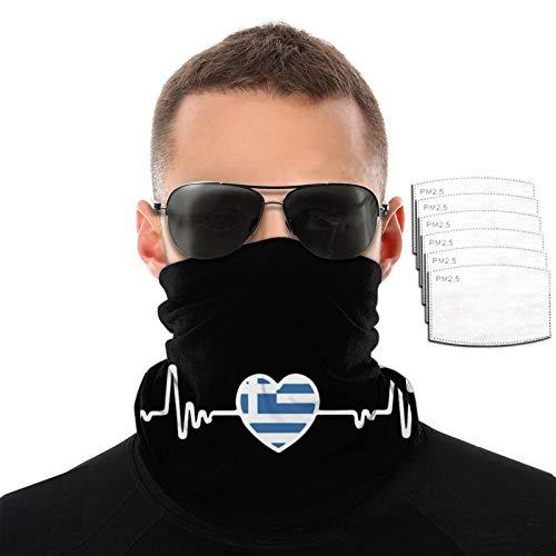 OUY Bandera griega Heartbeat Line Corazón Transpirable Protector de Cuello Protector de Pierna Máscara de Cara Bufanda Turbante Pasamontañas Sombrero Bufanda Hombres Y Mujeres Mascarilla