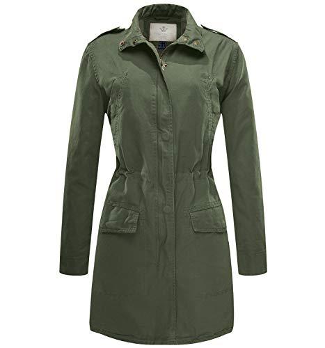 Wenven Women's Spring Light Military Windbreaker Jacket (Army Green, Medium)