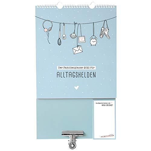 Odernichtoderdoch Wandkalender 'Alltagshelden' Kalender für die ganze Familie - Familienkalender mit Dokumentenclip in Mint, 28 cm x 46,6 cm