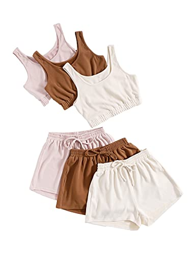 SheIn Women's 6 Pieces Outfits Crop Tank Top and Elastic Waist Shorts Set Multicoloured Medium