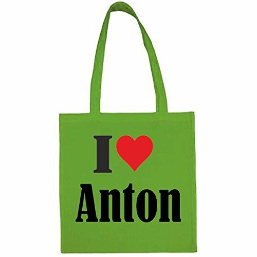 Tasche I Love Anton Größe 38x42 Farbe Grün Druck Schwarz